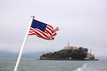 American flag & Alcatraz