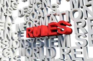 RULES Word in red, 3d illustration.