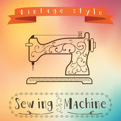 Old retro sewing machine. Vintage label design. Hipster theme