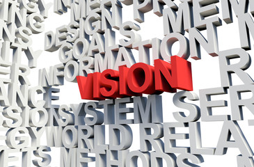 VISION Word in red, 3d illustration.