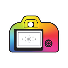 photocamera icon conical gradient logo mock up template