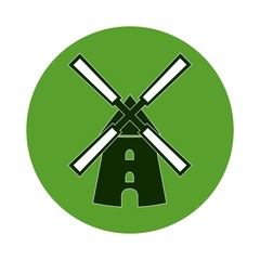 Green Windmill icon - Illustration