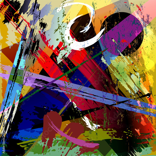 Fotobehang Vormen abstract background composition, with paint strokes, splashes an