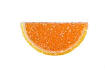 Slice Of Orange Marmalade On A White Background.