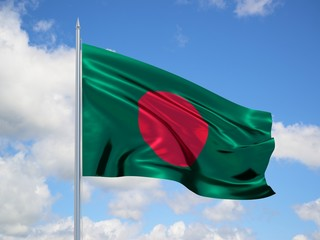 Bangladesh 3d flag floating in the wind in blue sky