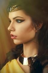 Beautiful egyptian woman bronze portrait.