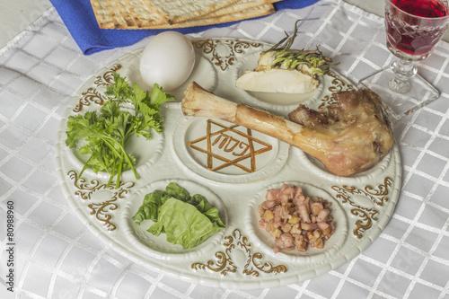 Fotobehang Assortiment Passover Seder Plate