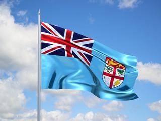 FIGI 3d flag floating in the wind in blue sky