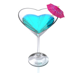 cocktail glass heart-shaped