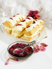 mille-feuilles with rose petal jam) Napoleon
