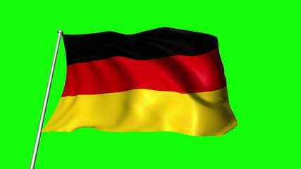 Germany flag with fabric structure (loop, green background)