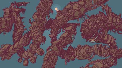 Cyberpunk Junk Vines Seamless Tiling Background Pattern