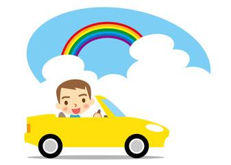 夏 ドライブを楽しむ男性