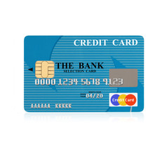 Credit card on white reflective surface.with clipping path