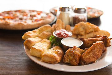 Chicken Wing and Breadsticks Appetizer Sampler Plate