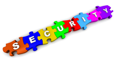 Безопасность (security). Надпись на разноцветных пазлах