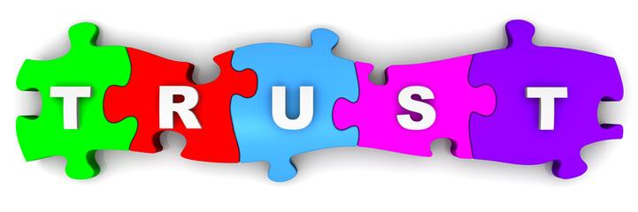 Доверие (trust). Надпись на разноцветных пазлах