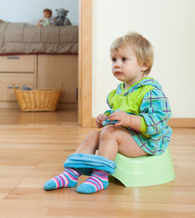 Toddler sitting on  potty