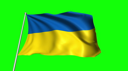 Ukraine flag with fabric structure (loop, green background)