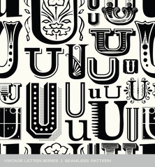Seamless vintage pattern of the letter U