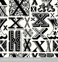 Basic RGBSeamless vintage pattern of the letter X