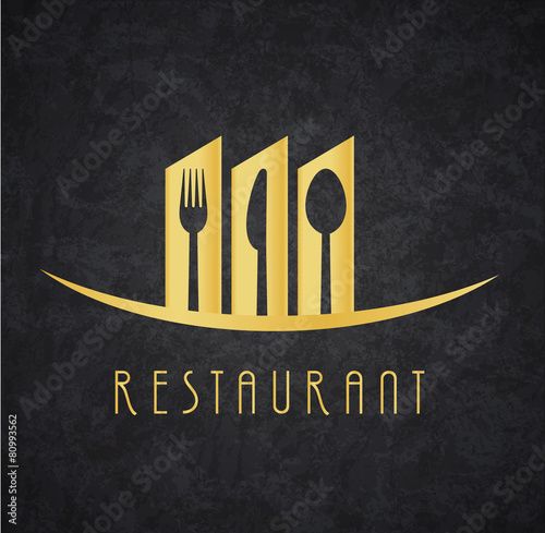 Logo Restaurante Gold and Black - 80993562