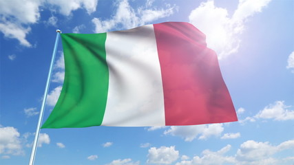Italy flag with fabric structure against a cloudy sky (loop)