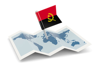 Map with flag of angola