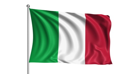 Italy flag with fabric structure (loop, with alpha channel)