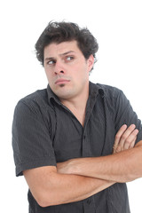 puzzled man on a white background