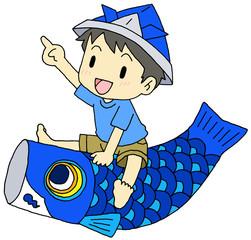 鯉幟に乗る男の子