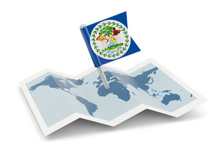 Map with flag of belize