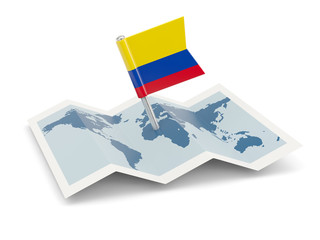 Map with flag of colombia