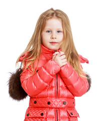 Adorable little girl in autumn coat.