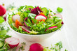 Healthy salad with fresh vegetables and ingredients on white bac - 80996152