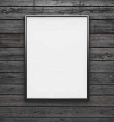 Black frame with blank canvas on the vintage wood background