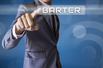 Businessman press Barter of business conceptual