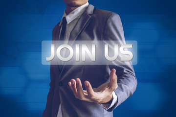 Businessman or Salaryman with JOIN US text modern interface conc