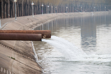 Industrial wastewater discharged into the river