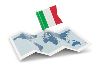 Map with flag of italy