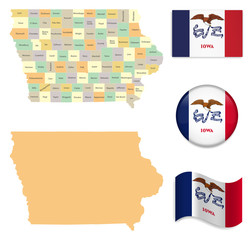 High Detailed Map of Iowa  With Flag Icons