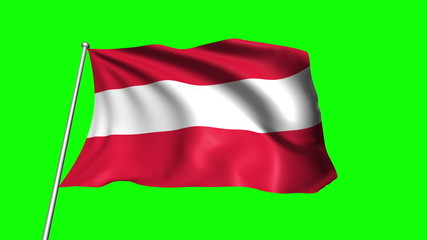 Austria flag with fabric structure (loop, green background)