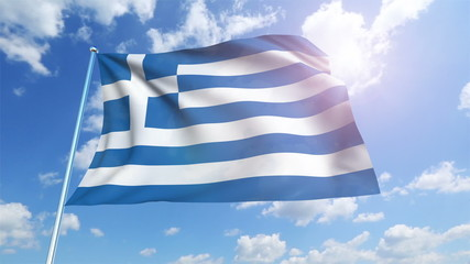 Greece flag with fabric structure against a cloudy sky (loop)