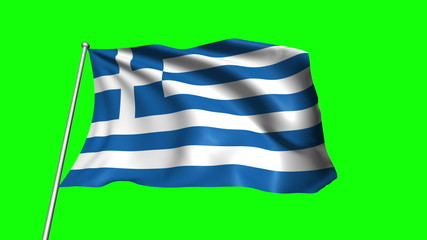 Greece flag with fabric structure (loop, green background)