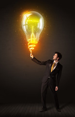 Businessman with an idea bulb