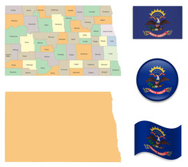 High Detailed Map of North Dakota  With Flag Icons