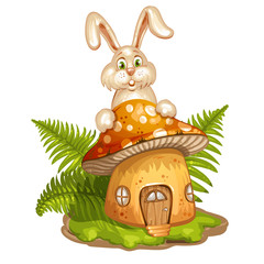 House for gnome made from mushroom and rabbit