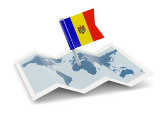 Map with flag of moldova