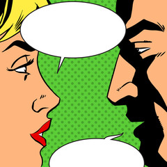 man and woman talking comics retro style