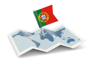 Map with flag of portugal